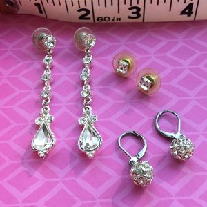 Jewelry - 2 for 1 x3 sets of rhinestone earrings